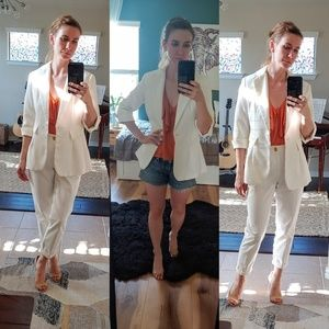 White long suit blazer with 3/4 sleeve
